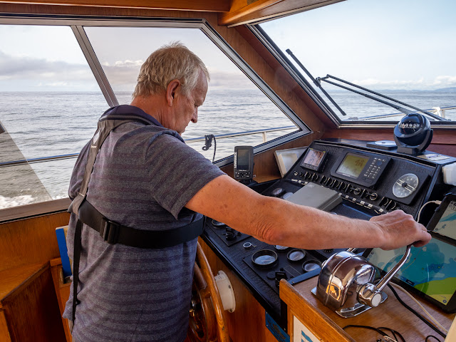 Photo of Phil giving Ravensdale's engines some throttle while keeping an eye on the temperature gauges