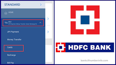 Select Cards option in HDFC mobile app