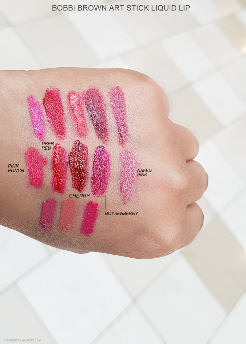 Bobbi Brown Art Stick Liquid Lipsticks - Swatches  Pink Punch - Uber Red - Cherry - Boysenberry - Naked Pink