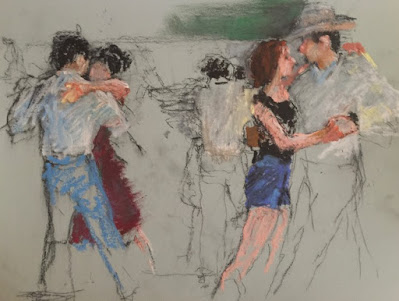 drawing of western two-step dancers