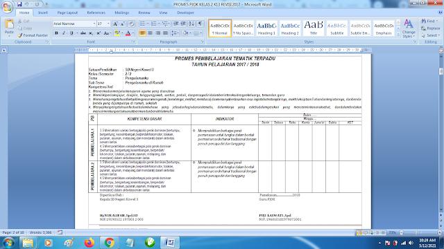 Contoh Promes PJOK Kelas 2 SD Semester 2 Kurikulum 2013 Revisi Terbaru