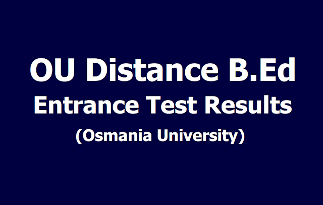 OU Distance B.Ed Entrance Test Results