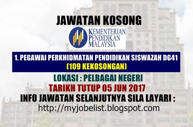 Jawatan Kosong Sebagai Guru di Kementerian Pendidikan Malaysia ( MOE) Jun 2017
