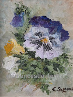 From Me To You, 5 x 4 oil painting of multicolor pansies by Clemence St. Laurent