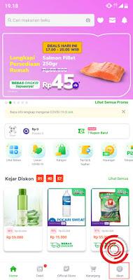 1. Langkah pertama untuk melihat riwayat pembelian yang kosong di Tokopedia, silakan kalian buka aplikasi Tokopedia lalu pilih pada menu Akun