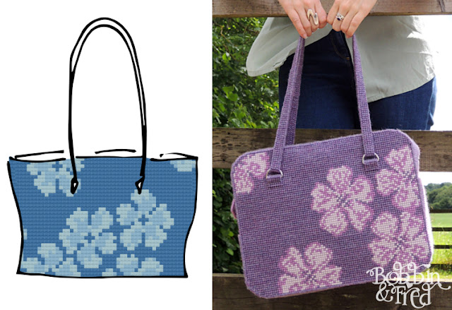 Sketch of initial bag design next to photo of finished bag