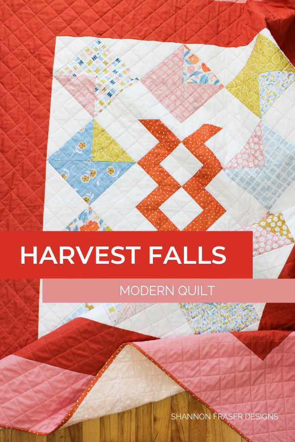 Harvest Falls Quilt | Q4 Finish-a-Long List of Projects | Shannon Fraser Designs #halfsquaretriangles #quilt #modernquilt