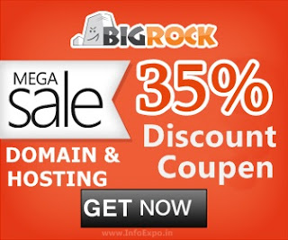 Latest Bigrock Discount Coupen of 35% discount on Domains and Hosting