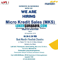 We Are Hiring at Bank Mandiri Pondhok Chandra Sidoarjo Desember 2019
