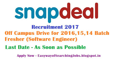 Snapdeal Recruitment 2017