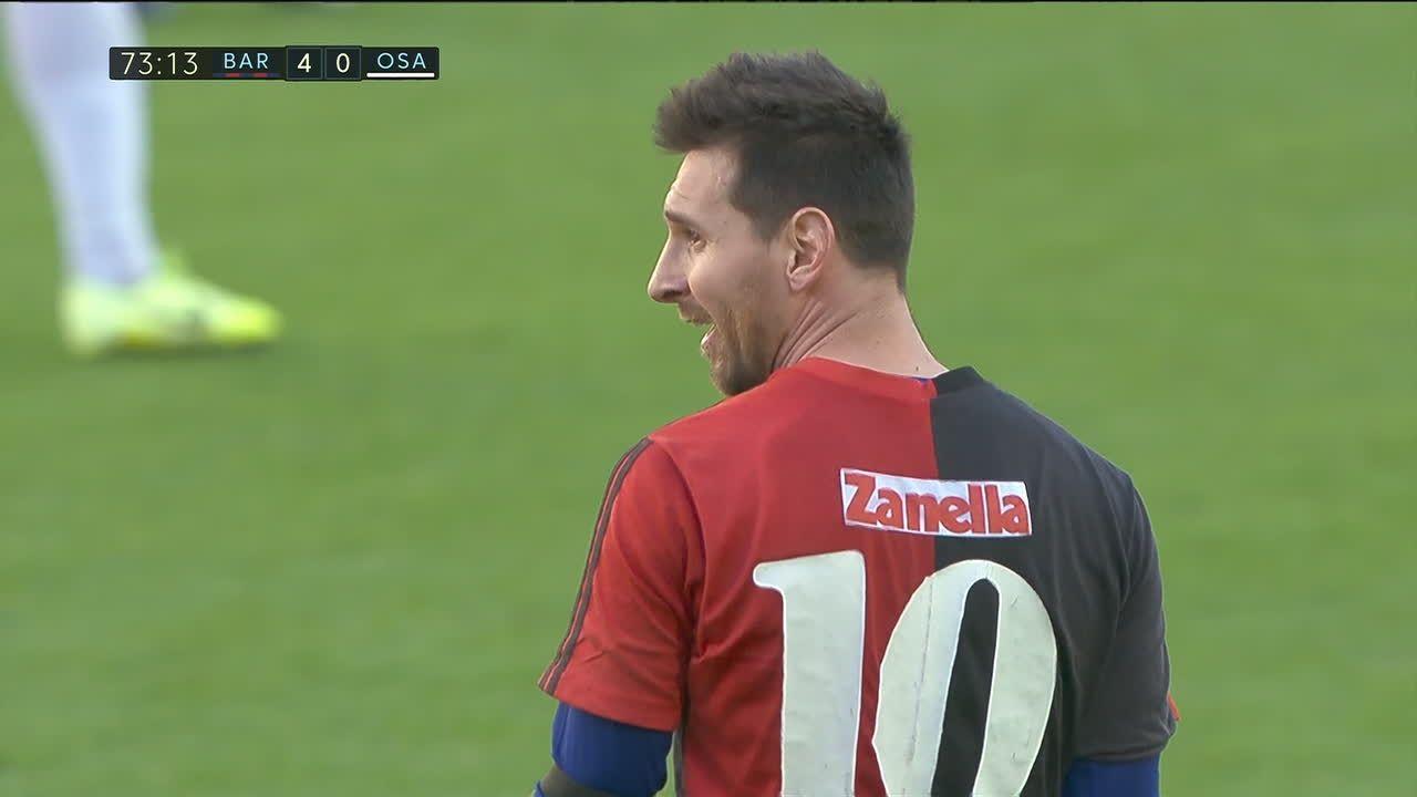 Lionel Messi festejo con la 10 de Newell's en homenaje a Maradona
