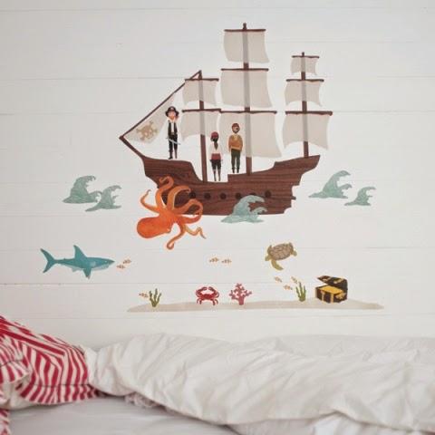 Love Mae muursticker Piratenschip