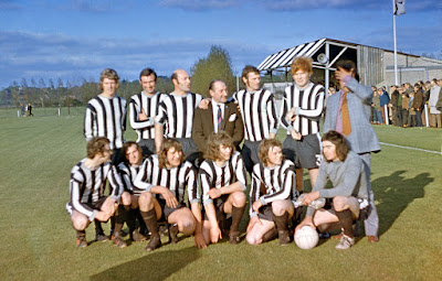 Grimsby Town legend Matt Tees (third from right on the back row) playing for Brigg Town Football Club against Hull City in the 1970s - see Nigel Fisher's  Brigg Blog