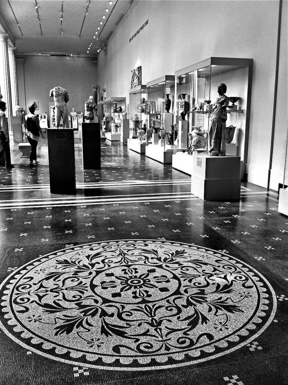 Black And White Mosaic Tile Floor Of The Greek Roman Galleries In Met