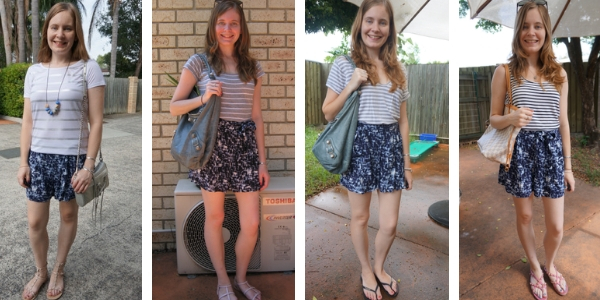 outfit ideas for print mixing striped tops and printed shorts | awayfromtheblue