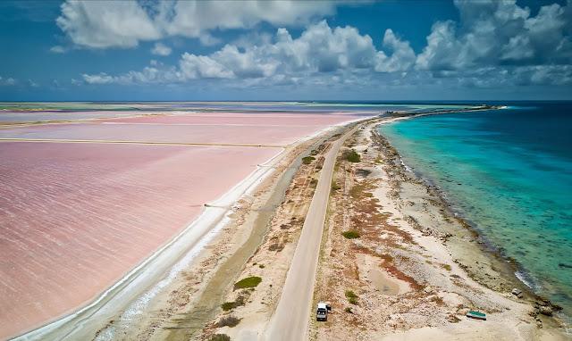 bonaire beach salt flats