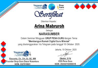 sertifikat narasumber Arina Mabruroh