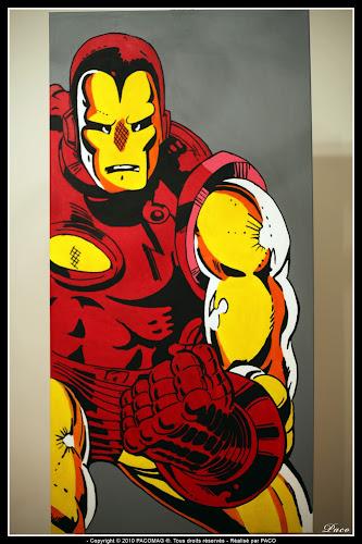 IRON MAN sur toile mis en couleur Par Paco illustrateur graphiste, artiste peintre