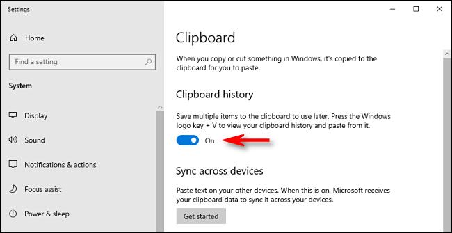 انقر فوق تبديل محفوظات الحافظة في إعدادات نظام Windows 10