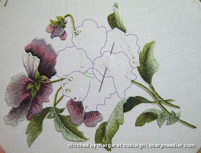 Preparing to embroidery central thread painted pansy (design by Trish Burr)