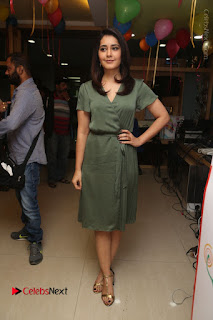 Actress Raashi Khanna Stills in Green Short Dress at Mirchi 95 Suno Aur Mercedes Jeeto Contest  0150.JPG