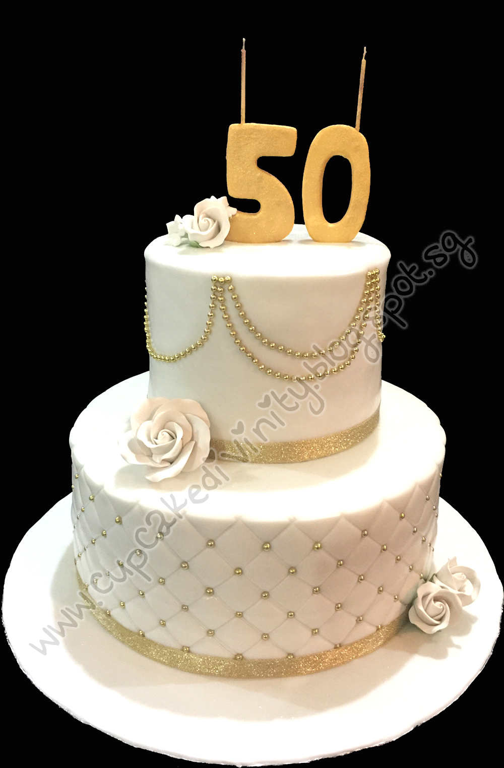 Customised 2 Tier Gold And White Theme 50th Birthday Cake