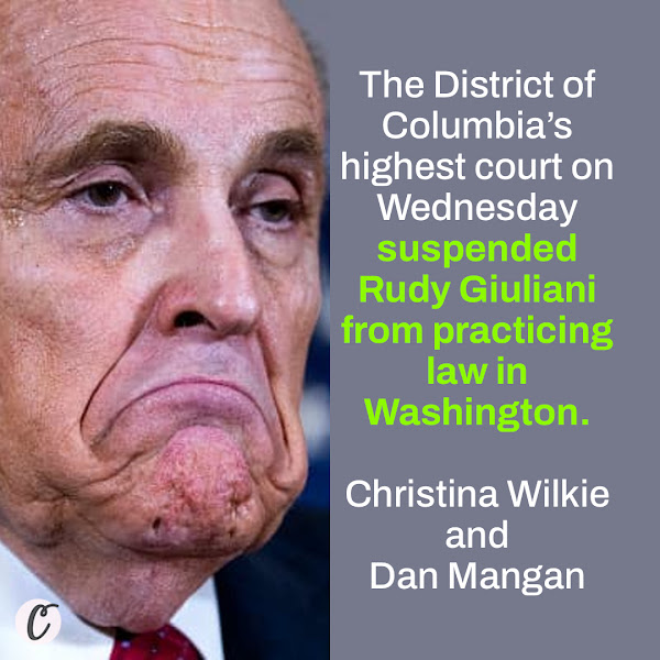 The District of Columbia's highest court on Wednesday suspended Rudy Giuliani from practicing law in Washington. — Christina Wilkie and Dan Mangan, CNBC Political Reporters