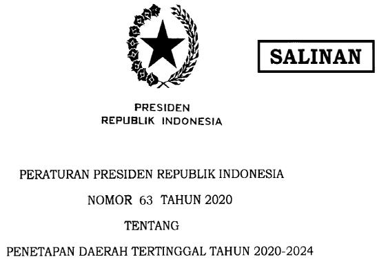 Peraturan Presiden Republik Indonesia Nomor 63 Tahun 2020 Daerah Tertinggal Tahun 2020-2024