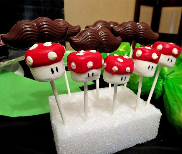 Mario Mushroom Marshmallow Pops & Chocolate Mario Mustache Pops