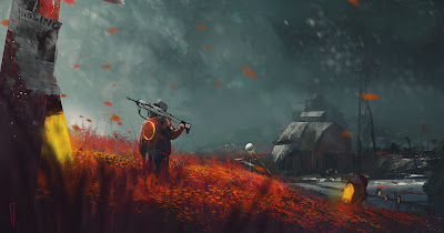 Guerrero futurista en el campo naranja con una cabaña de frente
