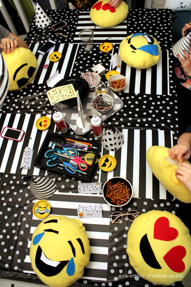 homemade emoji pillows, emoji party craft, emoji sleepover party
