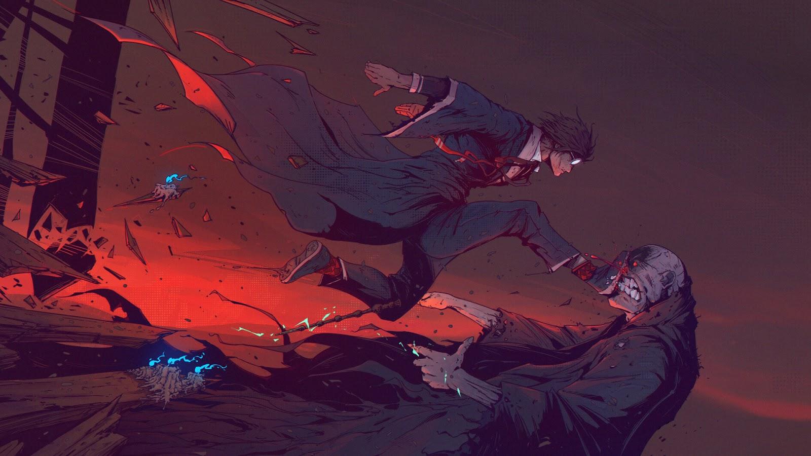 Harry Potter vs. Voldemort anime style wallpaper 1080p