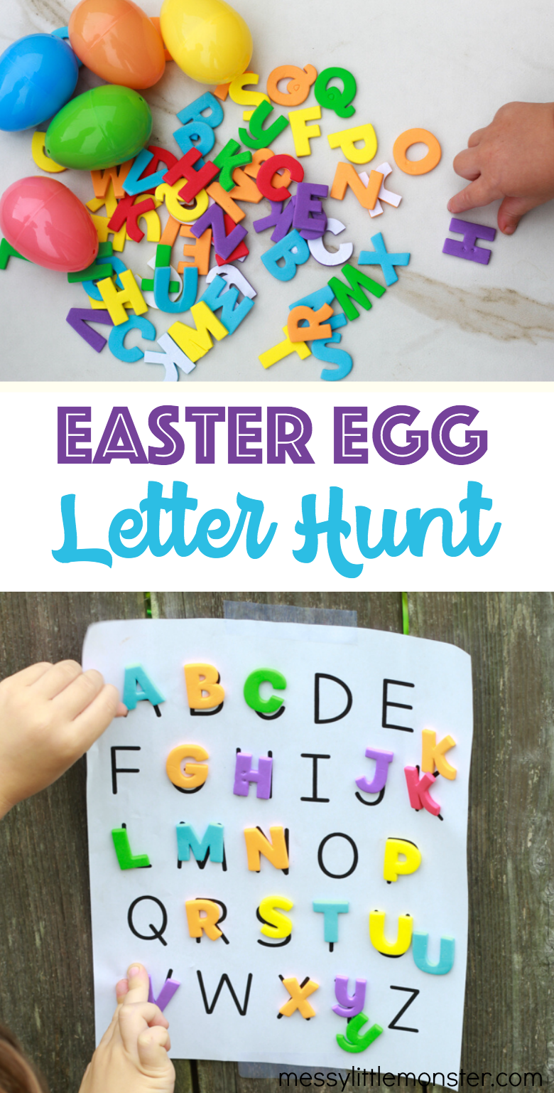 Easter egg letter hunt for kids. A fun Easter activity with alphabet printable.