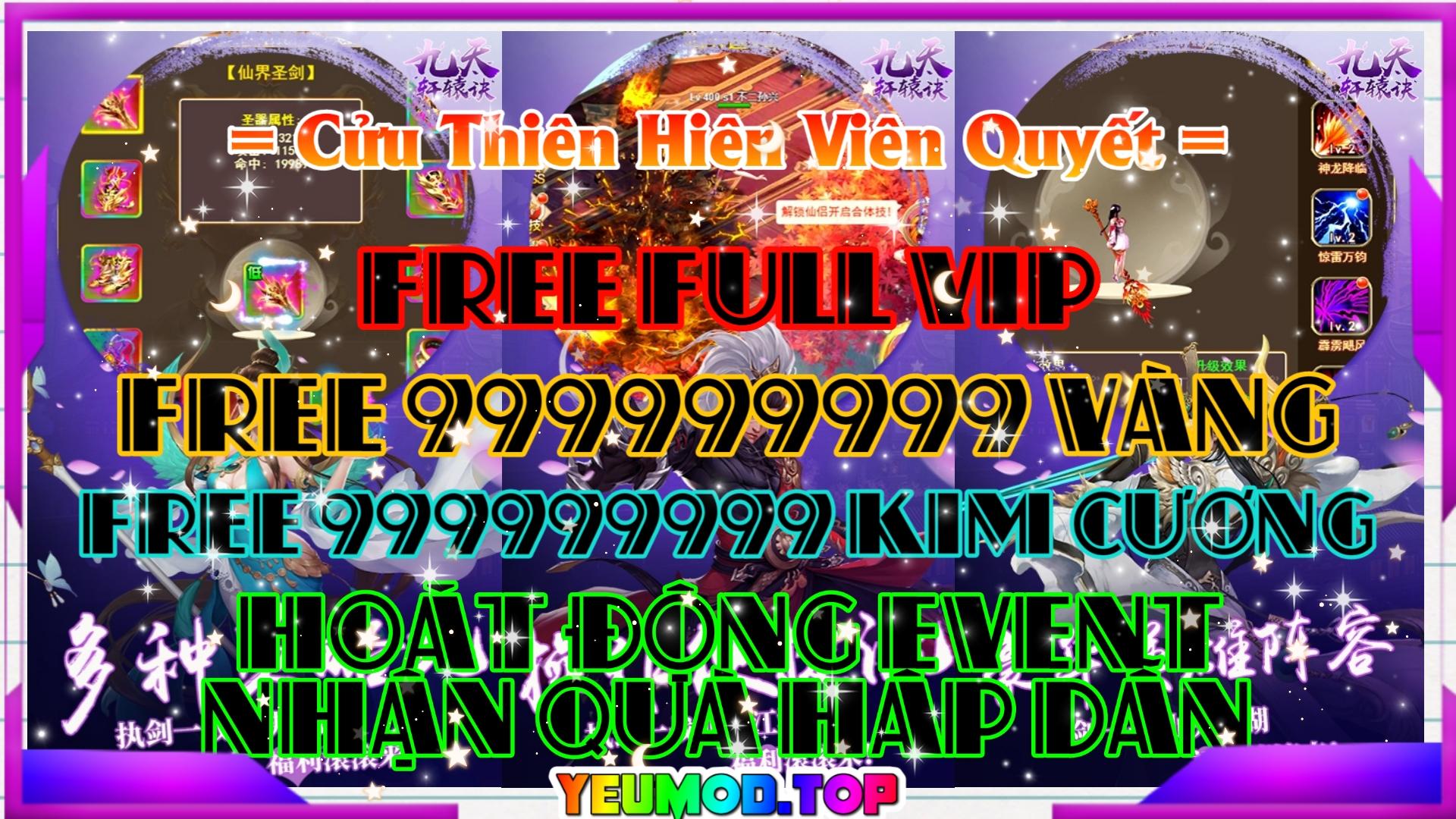 Cửu Thiên Hiên Viên Quyết Private | Free Full VIP | 999999999 Kim Cương | 999999999 Vàng | Hoạt Động Event Nhận Quà Hấp Dẫn 1