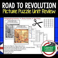 Road to Revolution Picture Puzzle,  TEST PREP, UNIT REVIEWS, TEST REVIEWS, and STUDY GUIDES