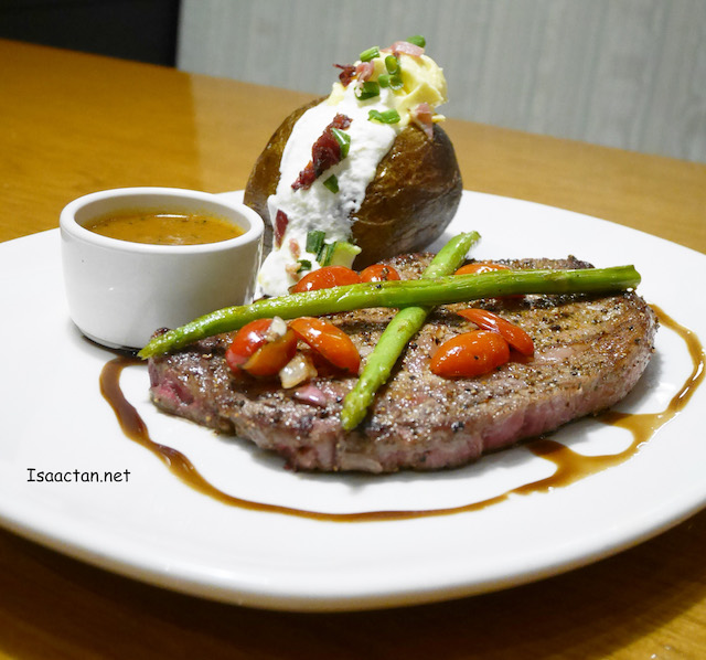 My favourite, Black Peppercorn Crusted Rib-eye - 8oz: RM59.95; 10oz: RM69.95