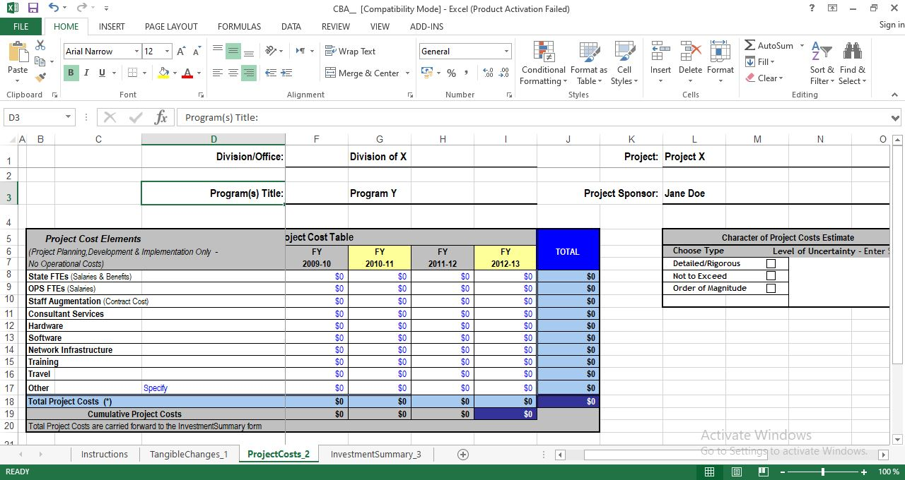 Project Costs worksheet