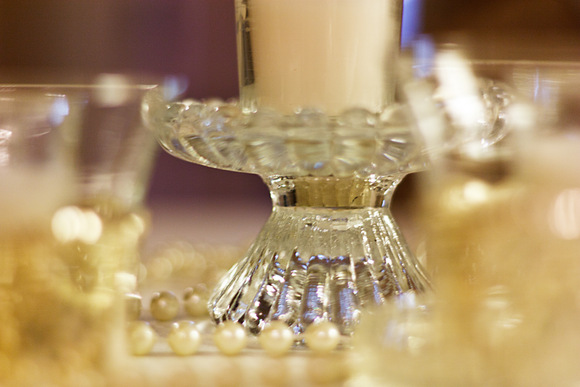 Crystal glassware and candle holders are great for a wedding's table decor.