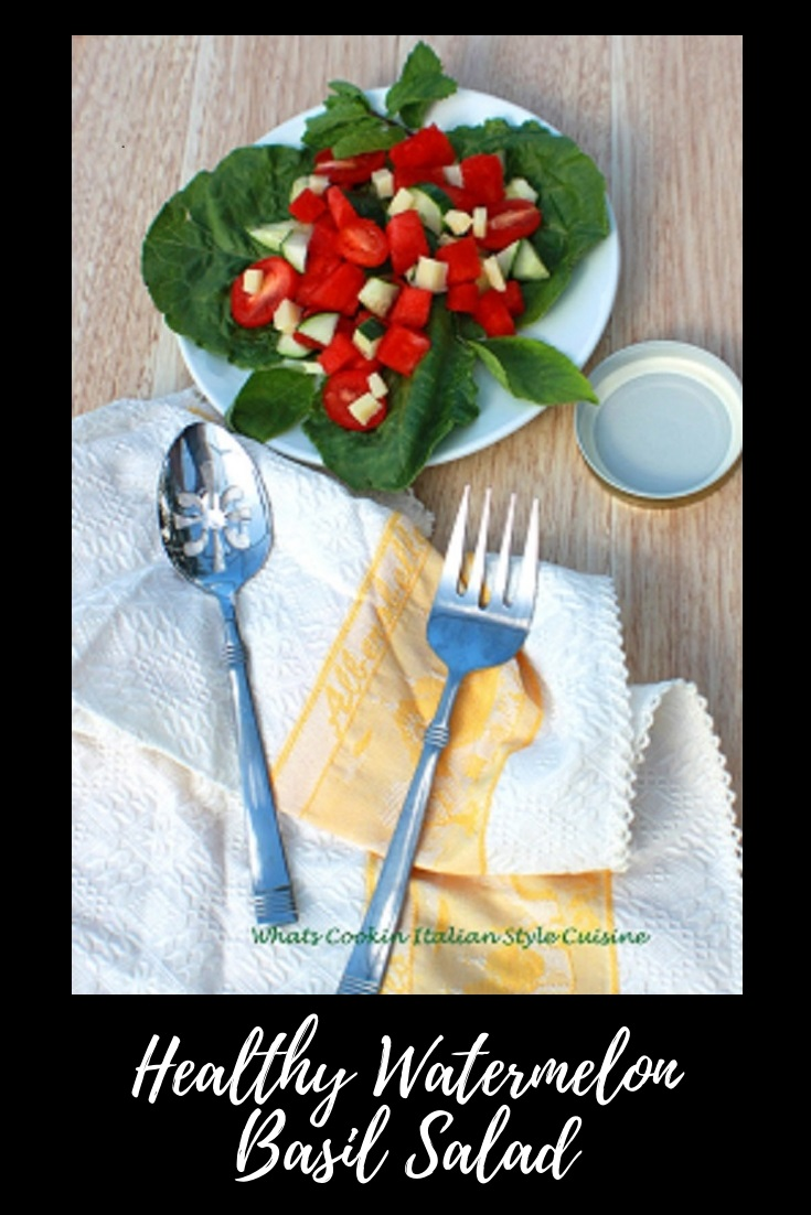 Watermelon Basil Salad is fresh watermelon on a bed of fresh greens, fresh vegetables and perfect for summer, low carb  diet food