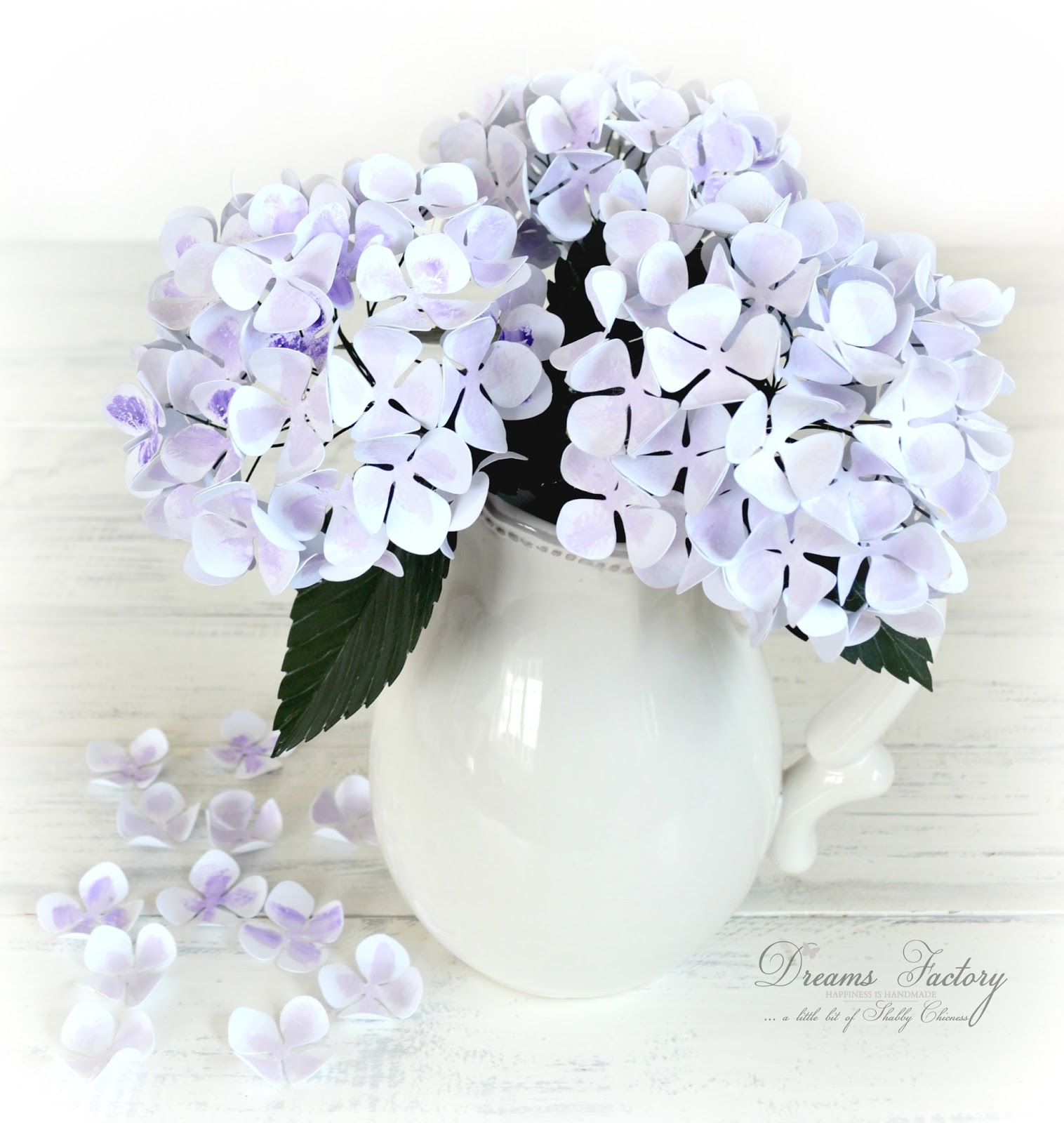 Tutorial on how to create paper hydrangeas link up at From My Front Porch To Yours