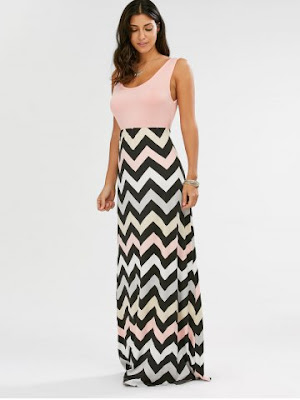 Sleeveless Maxi Chevron Tank A Line Dress - Pink - M