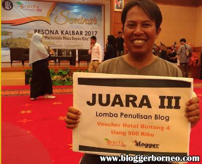 Juara III Lomba blog Pesona Wisata Kalbar – Penyelenggara Jejaring Wisata Kalbar (jewita) dan Bank Indonesia – Mei 2017