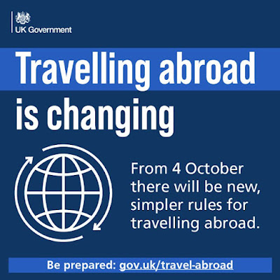 Travel to from the uk is changing October 4th text and a large hollow framed globe
