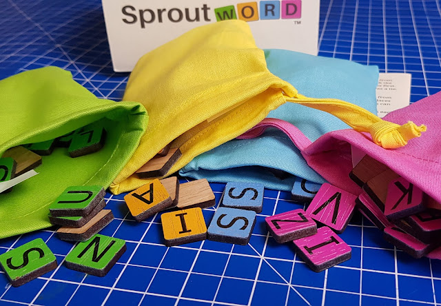 Sproutword Plastic Free tile game wooden pieces cloth bags