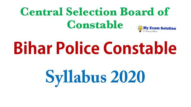 Bihar Police Constable Syllabus 2020