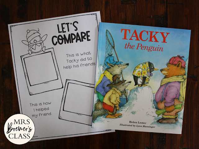 Tacky the Penguin book study activities unit with Common Core aligned literacy companion activities and a craftivity for winter in Kindergarten and First Grade