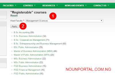 Noun list of available courses