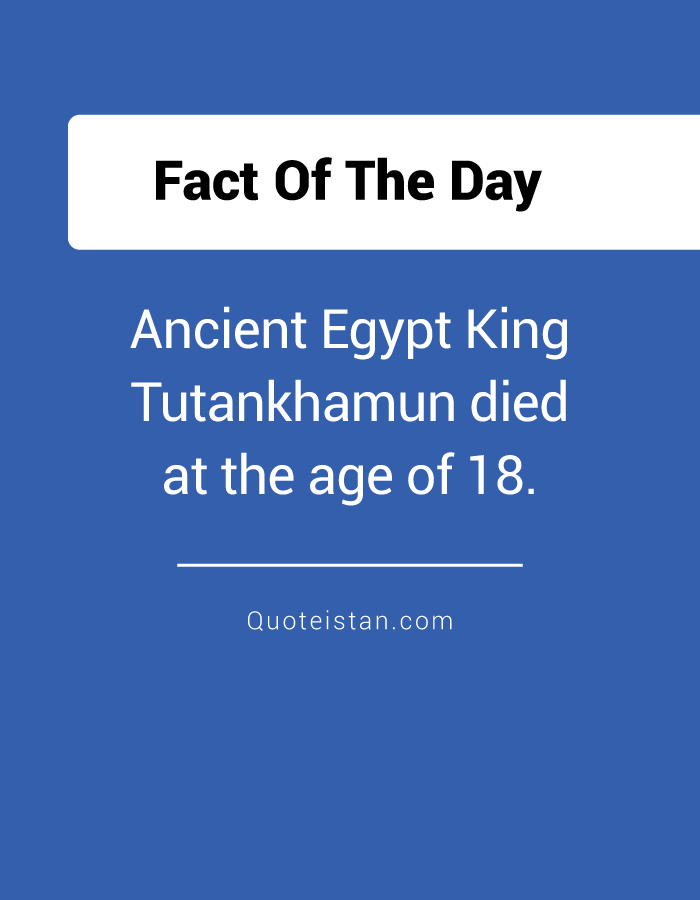Ancient Egypt King Tutankhamun died at the age of 18.