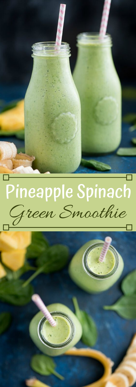 PINEAPPLE SPINACH GREEN SMOOTHIE #drink #smoothie #pineapple #easy #healthy